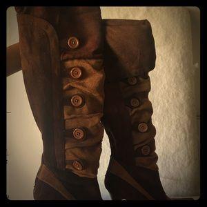 2 tone brown high heel boots
